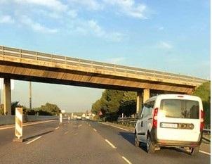 Imagen cedida por diariodemarratxi.com de la autopista Palma-Inca en obras