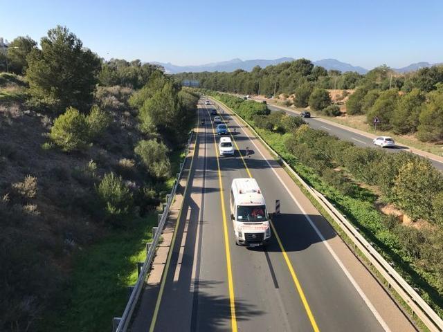 Imagen cedida por diariodemarratxi.com de las obras en la autopista Palma-Inca