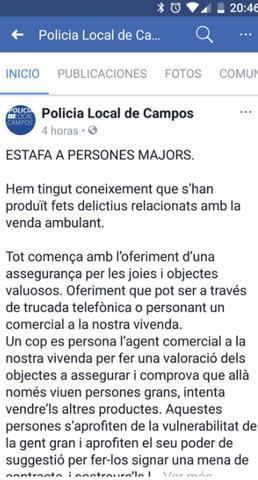 La Policía Local de Campos ha dado la voz de alarma ante una posible estafa de recaudadores de donativos para Sant Llorenç