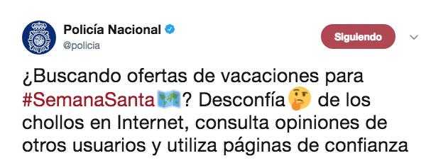 la policia nacional avisa de los chollos de viajes en semana santa