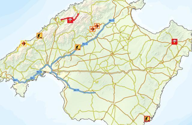 Mapa Carreteras De Mallorca.La Nieve Y El Viento Obliga A Cortar Dos Carreteras En La Serra De Tramuntana
