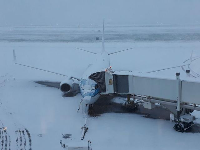 Aeropuerto Bilbao Sondika nevado nieve avion