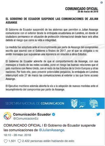 comunicado gobierno Ecuador sobre Assange