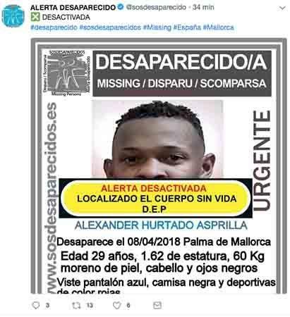 alexander Hurtado desaparecido ha sido encontrado muerto segun SOS Desaparecidos