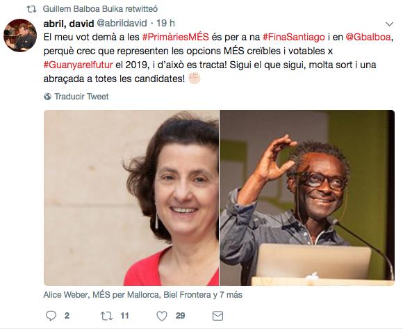 David Abril apoyando en las primarias a Fina Santiago y Guillem Balboa