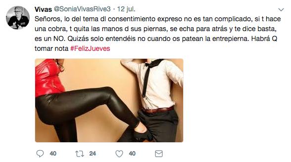 """La agente Sonia Vivas habla en sus tuits de """"patear la entrepierna"""""""