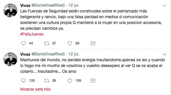 Tuits de Vivas en los que pone en entredicho la génesis de las fuerzas de seguridad
