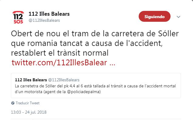 Tuit del servicio de Emegencias 112 informando del corte y posterior restablecimiento de de la carretera de Sóller