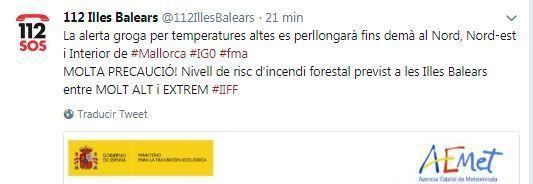 Tuit de emergencias de Baleares alerta del riesgo de incendios