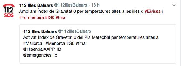 Emergencias alerta de las altas temperaturas en Baleares