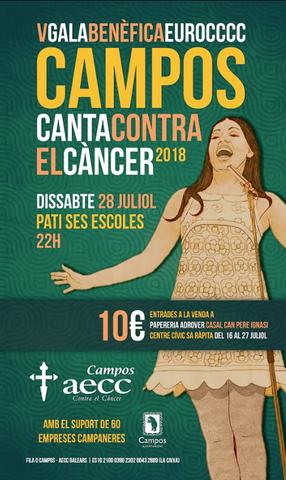 Cartel anunciador de la gala contra el cáncer, con el lema 'Campos living a celebration'