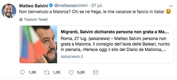 Primer tuit de Salvini contestando al Consell de Mallorca por su declaración de persona 'non grata'