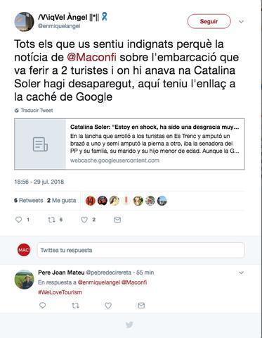 Tuit sobre la retirada de la noticia de Catalina Soler