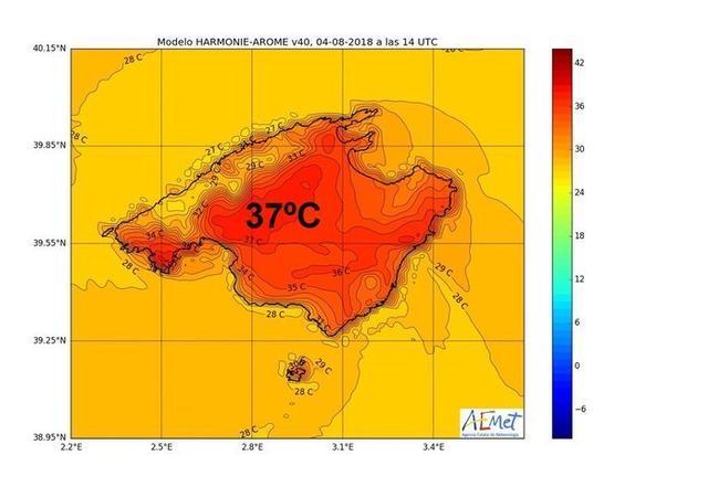 Las tormentas no traen bajada de los mercurios en las islas. Las temperaturas pueden superar esta jornada los 36ºC habituales estos días de media en Mallorca (Foto: AEMET)