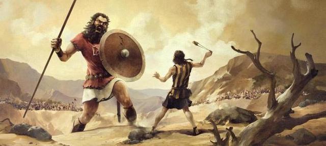 Según el relato bíblico, David derrotó al gigante filisteo Goliath con una onda