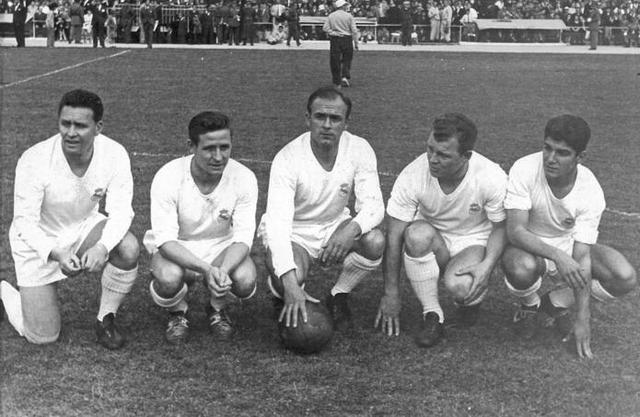 Kopa, Di Stefano, Kubala, Collar y Molowny, en el homenaje a este último