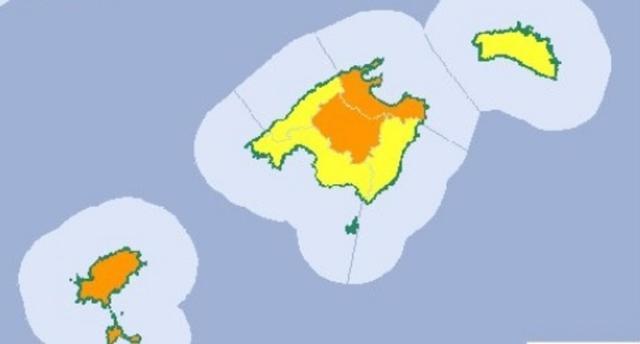 Mapa de Aemet Baleares de los avisos naranjas para este viernes en las Islas