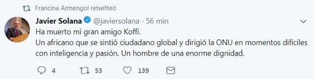javier solana muerte kofi annan tuit