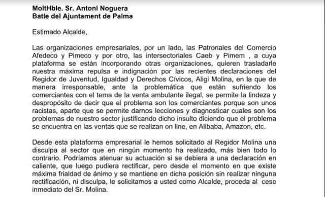 Carta que las patronales del comercio han enviado a noguera pidiéndole la dimisión del concejal Aligi Mora
