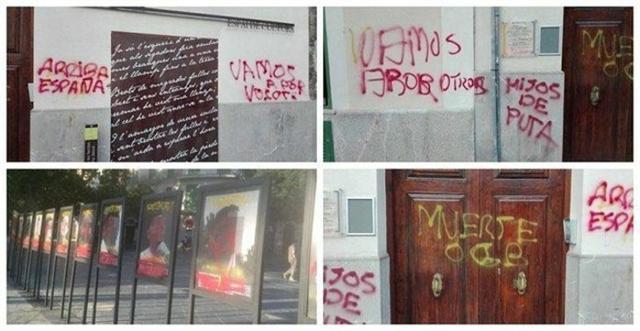 Pintadas anti-independentistas en la sede del STEI, Can Alcover y una exposición en la Plaza de España (Foto: Twitter)