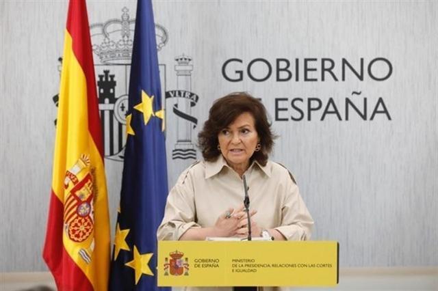 La vicepresidenta del Gobierno, Carmen Calvo, en la rueda de prensa posterior al Consejo de Ministros