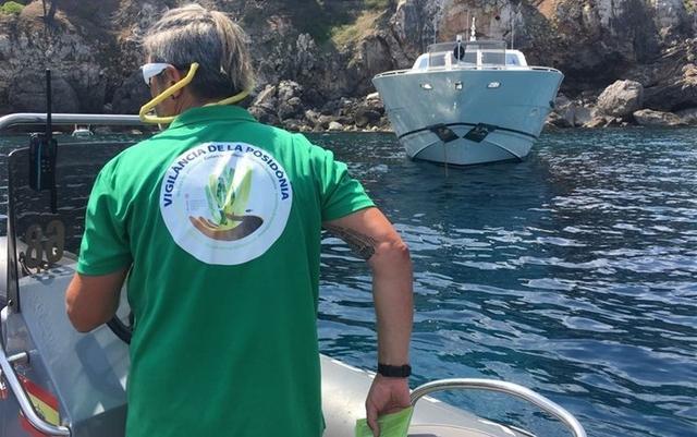 Un agente de Medi Ambient de Balears, vigila que no se incumpla la nueva normativa de la posidonia (Foto: Europa Press)