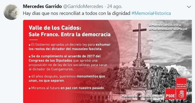 exhumacion franco mercedes garrido tuit con mensaje
