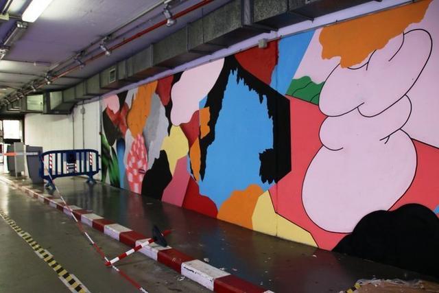 El mural hace referencia a la velocidad y a los elementos plásticos en movimiento (Foto: Aj. Palma)