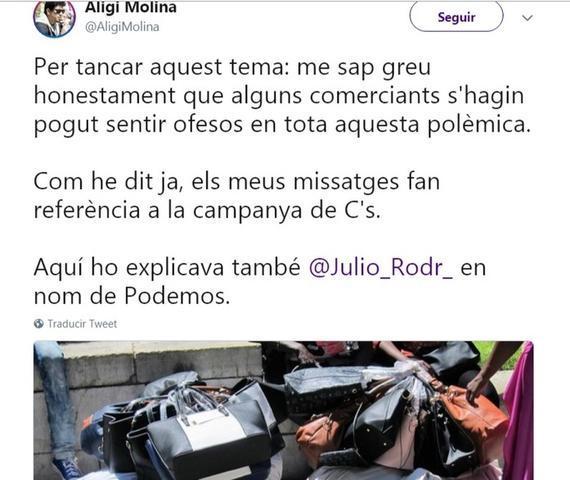 El tuit de la disculpa del concejal de Podem Aligi Molina