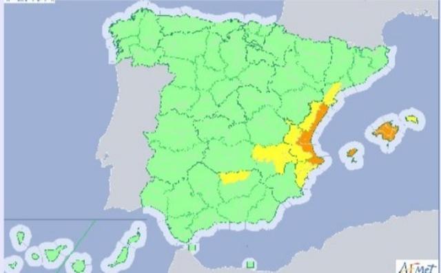 Mapa meteorológico en el que Aemet ha decretado la alerta naranja en Baleares (Foto: Aemet)