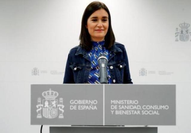 La ministra de Sanidad y Bienestar Social, Carmen Montón, en su comparecencia de esta tarde