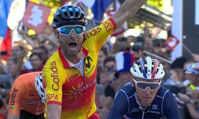 Valverde, cruzando la línea de meta (Foto: Europa Press)