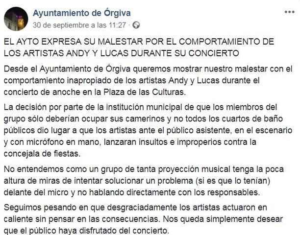 andy y lucas tuit fiestas orgiva granada