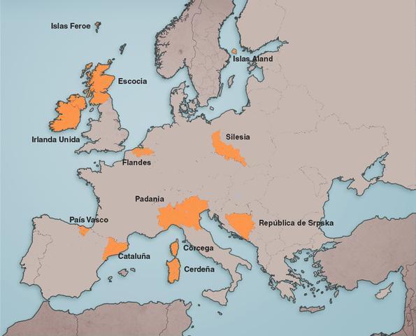 Mapa de la Europa indenpendentistas (Fuente: Europapress)
