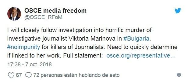 periodista asesinada tuit osce union europea