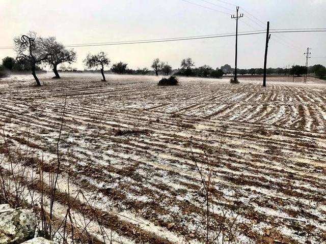 El granizo ha dejado un manto blanco (Foto: Aj Cas Concos)