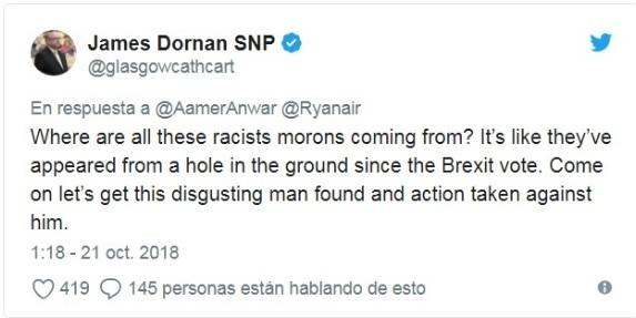 Rynair tuit contra el racista brexit