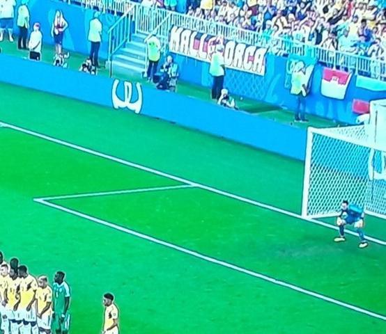 La bandera de Mallorca luciendo en el Colombia - Senegal del último Mundial