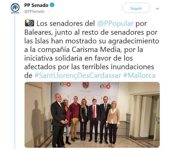 Los senadores de Baleares con Lara Dibildos y Cesar Lucendo presentan 'El teatro con Mallorca' para los damnificados de la torrentada en Sant Llorenç