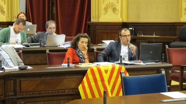fina santiago con el lazo catalan en el parlament y al lado de biel barcelo y detras david abril