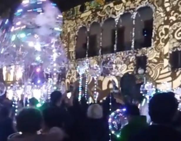 Momento del encendido navideño en el Paseo del Borne de Palma
