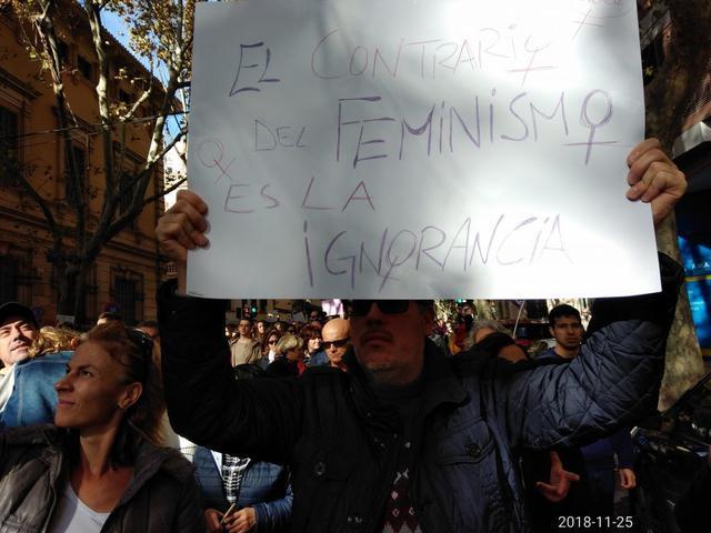 Un hombre porta el cartel 'Lo contrario del feminismo es la ignorancia' (Foto: María Jesús Almendáriz)