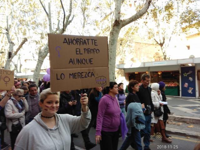 Feministas con carteles en contra de los piropos machistas (Foto: María Jesús Almendáriz)