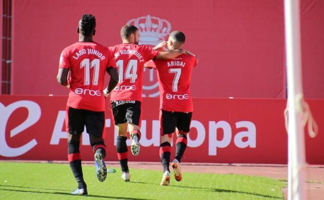Celebrando el gol de Aridai (foto: RCD Mallorca)