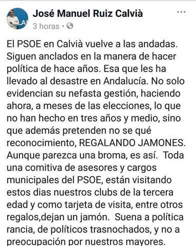 La publicación de Ruiz en Facebook