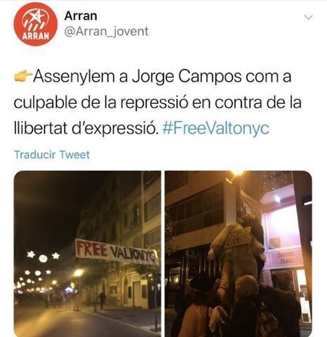 Uno de los tuit que colgaron en sus redes la jóvenes independentistas de Arran