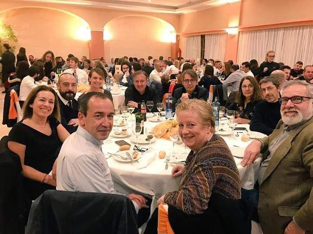 Xavier Pericay con Joan Mesquida en la cena de navidad 2018