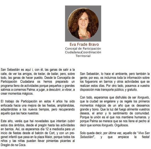 Eva Frade discurso en castellano con faltas
