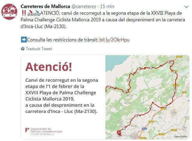 Carreteras Caimari a Lluc cambio de recorrido de la Chalenge vuelta ciclista