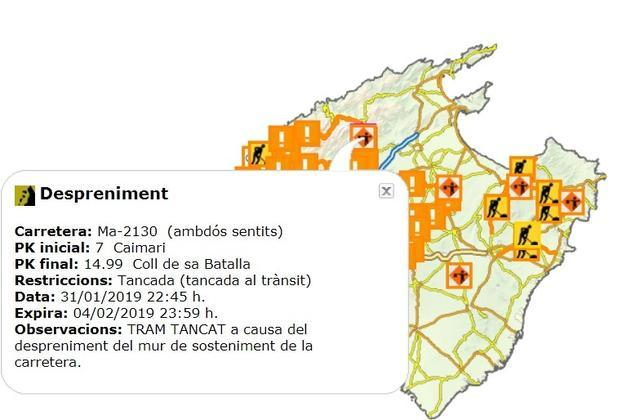 El visor del servicio Carreteres de Mallorca del gobierno insular informa de que permanecerá cerrada todo el fin de semana